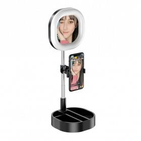 CENTHECHIA Kaca Cermin Fill Ring Light Make Up Selfie Video Live Stream Lamp Mobile Stand - Y3 - Black