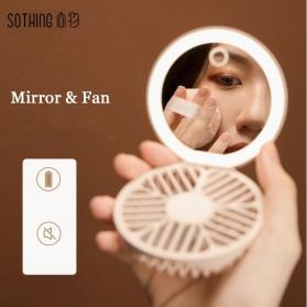Sothing Cermin Lipat Make Up Pocket Size Foldable Mirror LED Light with Fan - DSHJ-S-1910 - White