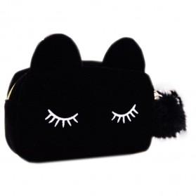 Tas Genggam Dompet Clutches Wanita Cute Cat - Black