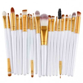 GUJHUI Brush Make Up 20 Set - White/Gold