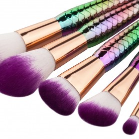 Mermaid Powder Blending Make Up Brush 5 PCS - Multi-Color - 3