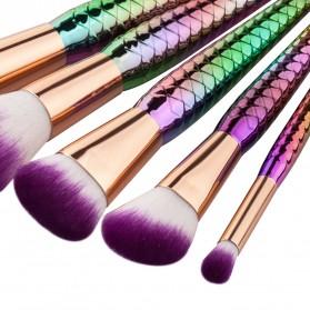 Mermaid Powder Blending Make Up Brush 5 PCS - Multi-Color - 4