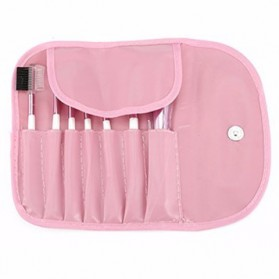 Professional Make Up Brush Kit 7 in 1 with Pouch - Pink - 2