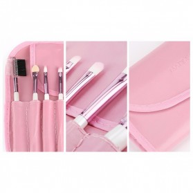 Professional Make Up Brush Kit 7 in 1 with Pouch - Pink - 4