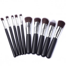 Brush Makeup - Anmor Make Up Brush 10 PCS - Black/Silver