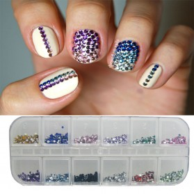 DIY Dekorasi Nail Art Rhinestones Glitters Hias 12 Colors - Multi-Color