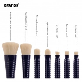 MAANGE Kuas Make Up Profesional 7 PCS - MAG9305 - Black - 4