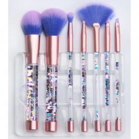 Kuas Make Up Profesional Transparent Fluid Handle 7 PCS - Pink - 5