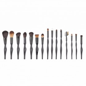 Make Up Brush Unique Shape 15 PCS - Black - 2
