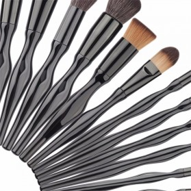 Make Up Brush Unique Shape 15 PCS - Black - 4