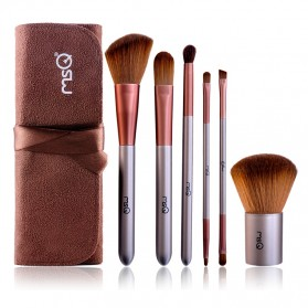MSQ Make Up Brush Model Kabuki 6 PCS - Coffee