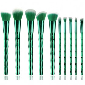 Make Up Brush Model Bamboo 10 PCS - Green