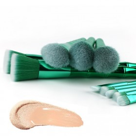 Make Up Brush Model Bamboo 10 PCS - Green - 2