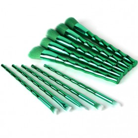 Make Up Brush Model Bamboo 10 PCS - Green - 4