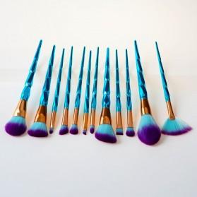 Make Up Brush Model Diamond Fan Shape 12 PCS - Green - 2