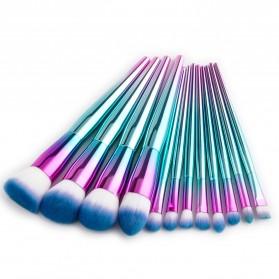 Make Up Brush Gradient 12PCS - Blue
