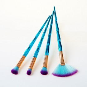 Make Up Brush Model Diamond Fan Shape 4 PCS - Green - 3