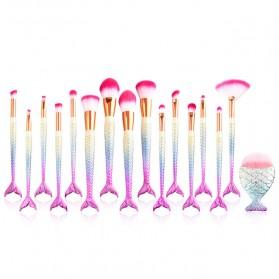 Mermaid Brush Make Up - 16 PCS - White/Pink
