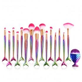 Mermaid Brush Make Up - 16 PCS - Mix Color