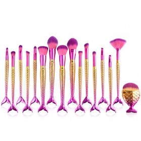 Mermaid Brush Make Up - 16 PCS - Pink/Yellow