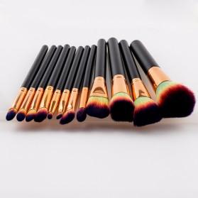 Make Up Brush Kuas Rias - 12 PCS - Green/Yellow - 2