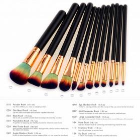Make Up Brush Kuas Rias - 12 PCS - Green/Yellow - 5