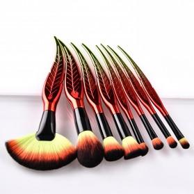 Make Up Brush Kuas Rias Bentuk Daun - 8 PCS - Red - 4
