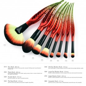 Make Up Brush Kuas Rias Bentuk Daun - 8 PCS - Red - 9