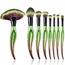 Make Up Brush Kuas Rias Bentuk Daun - 8 PCS - Green