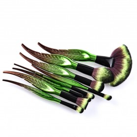 Make Up Brush Kuas Rias Bentuk Daun - 8 PCS - Green - 3