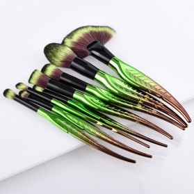 Make Up Brush Kuas Rias Bentuk Daun - 8 PCS - Green - 5