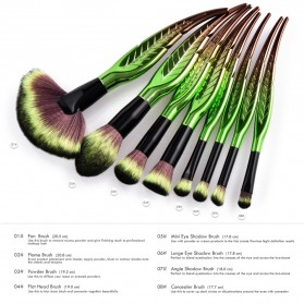 Make Up Brush Kuas Rias Bentuk Daun - 8 PCS - Green - 9