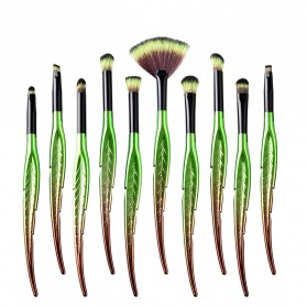 Eye Make Up Brush Kuas Rias Mata Bentuk Daun - 10 PCS - Green - 2