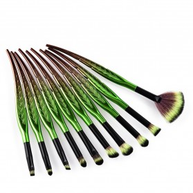 Eye Make Up Brush Kuas Rias Mata Bentuk Daun - 10 PCS - Green - 3