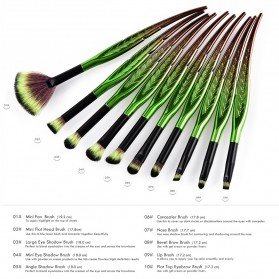 Eye Make Up Brush Kuas Rias Mata Bentuk Daun - 10 PCS - Green - 7