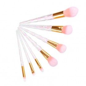 Kuas Make Up Brush with Crystal Handle - 7 PCS - Pink