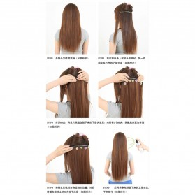 Hair Extension Wig Rambut Palsu Model Natural Straight 60cm - Brown - 9