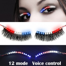 Bulu Mata Palsu LED Light 12 Mode Voice Control - Mix Color