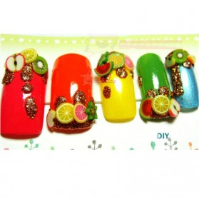 OLOEY Hiasan Kuku Nail Art Tips Filler Slime Fruit 1000pcs - WJ079A-C - Multi-Color - 5