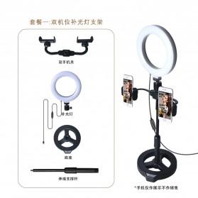 PULUZ LED Selfie Ring Fill Light Dimmable Live Stream Tiktok with Tripod + 2 Smartphone Holder - KH-16 - Black