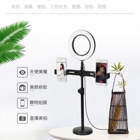 PULUZ LED Selfie Ring Fill Light Dimmable Live Stream Tiktok with Tripod + 2 Smartphone Holder - KH-16 - Black - 2