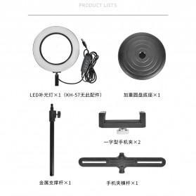 PULUZ LED Selfie Ring Fill Light Dimmable Live Stream Tiktok with Tripod + 2 Smartphone Holder - KH-16 - Black - 5