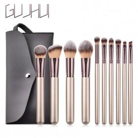 GUJHUI Set Kuas Make Up dengan Pouch 10 PCS - T-10-141 - Silver