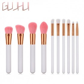 GUJHUI Set Kuas Make Up 10 PCS - PVC-10 - White/Gold - 1