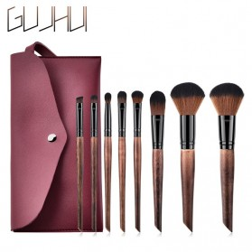 GUJHUI Set Kuas Make Up dengan Pouch 8 PCS - T-08-069 - Coffee