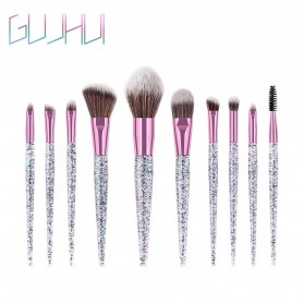 GUJHUI Brush Make Up Quicksand Glitter 10 Set - White/Pink