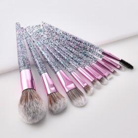 GUJHUI Brush Make Up Quicksand Glitter 10 Set - White/Pink - 2