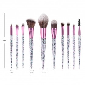 GUJHUI Brush Make Up Quicksand Glitter 10 Set - White/Pink - 3