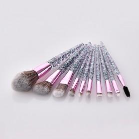 GUJHUI Brush Make Up Quicksand Glitter 10 Set - White/Pink - 4