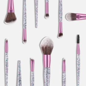 GUJHUI Brush Make Up Quicksand Glitter 10 Set - White/Pink - 6